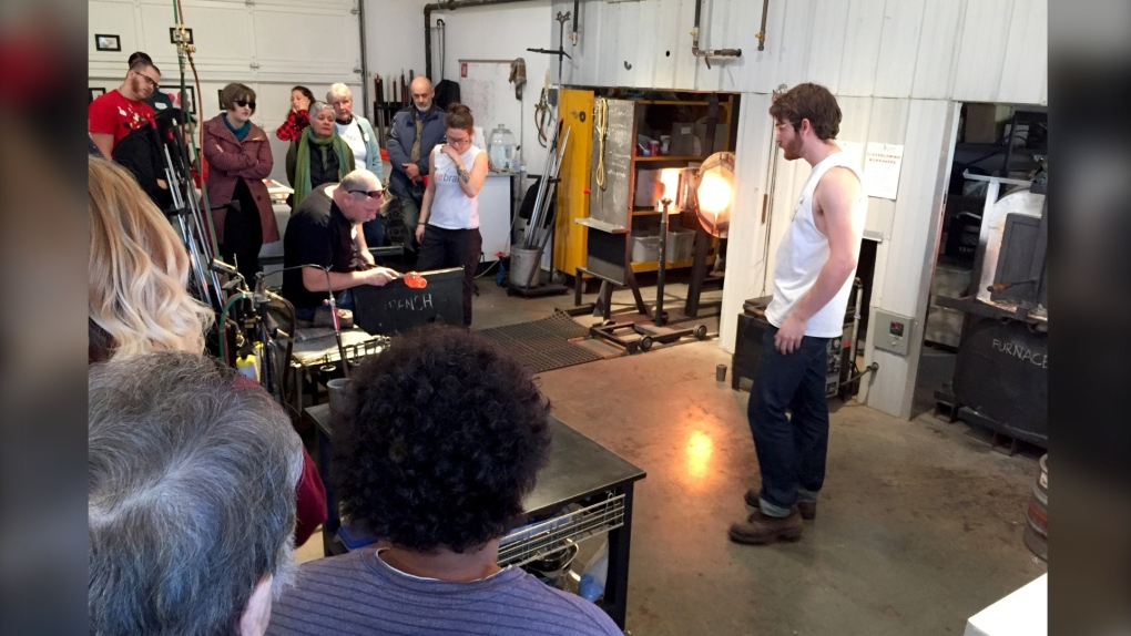Glass blowing artists sharing their craft at Christmas open house