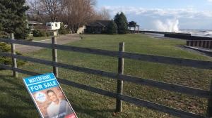 Waves crash into Lake Erie shoreline in Chatham-Kent on Wednesday, Nov. 27, 2019. (Chris Campbell / CTV Windsor)