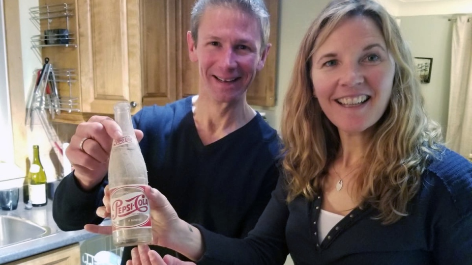 Phil and Tracey Laberge with Pepsi bottle