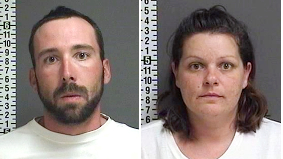 This combination of file photos provided by the Cass County Sheriff's Office in Fargo, N.D., shows William Hoehn, and his girlfriend Brooke Crews, the two people charged in connection with the murder of Savanna Greywind in North Dakota in August 2017. (Cass County Sheriff's Office via AP, File)