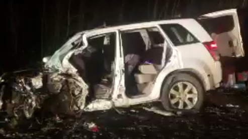 Badly damaged white SUV in Norfolk COunty