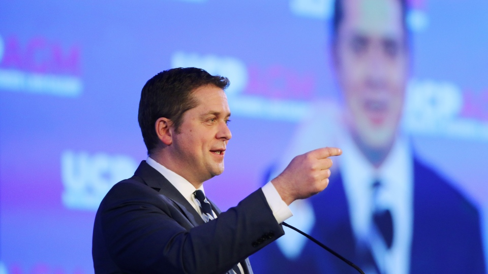 Andrew Scheer, Leader of Conservative Party of Canada, delivers a keynote speech to attendees of the Alberta United Conservative Party Annual General Meeting in Calgary, Alta., Friday, Nov. 29, 2019. THE CANADIAN PRESS/Dave Chidley