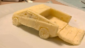 Greg Milano created a miniature Tesla Cybertruck with homemade mashed potatoes. (Dan Milano)