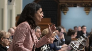 Quebec Liberal Party MNA Dominique Anglade during question period, Wednesday, April 3, 2019 at the legislature in Quebec City. Within days of entering the Quebec Liberal leadership race, Dominique Anglade was hit with a whisper campaign suggesting the colour of her skin and her connection to Montreal hurt her chances of becoming premier. THE CANADIAN PRESS/Jacques Boissinot
