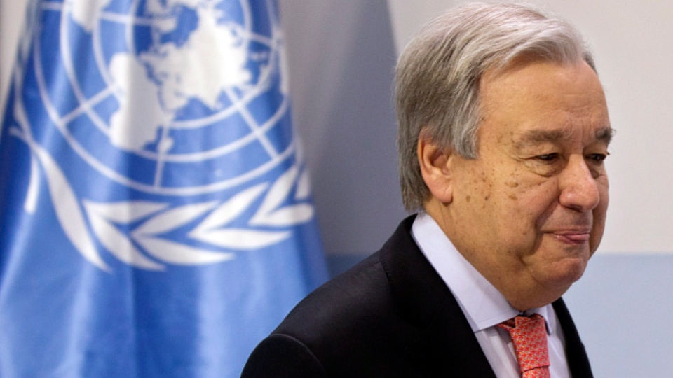 UN Secretary-General Antonio Guterres speaks during a news conference at the COP25 summit in Madrid, Spain, Sunday, Dec. 1, 2019. (AP Photo/Paul White)