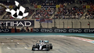 Mercedes driver Lewis Hamilton crosses the finish to win the Emirates Formula One Grand Prix, at the Yas Marina racetrack in Abu Dhabi, United Arab Emirates, Sunday, Dec.1, 2019. (AP Photo/Luca Bruno/Pool)