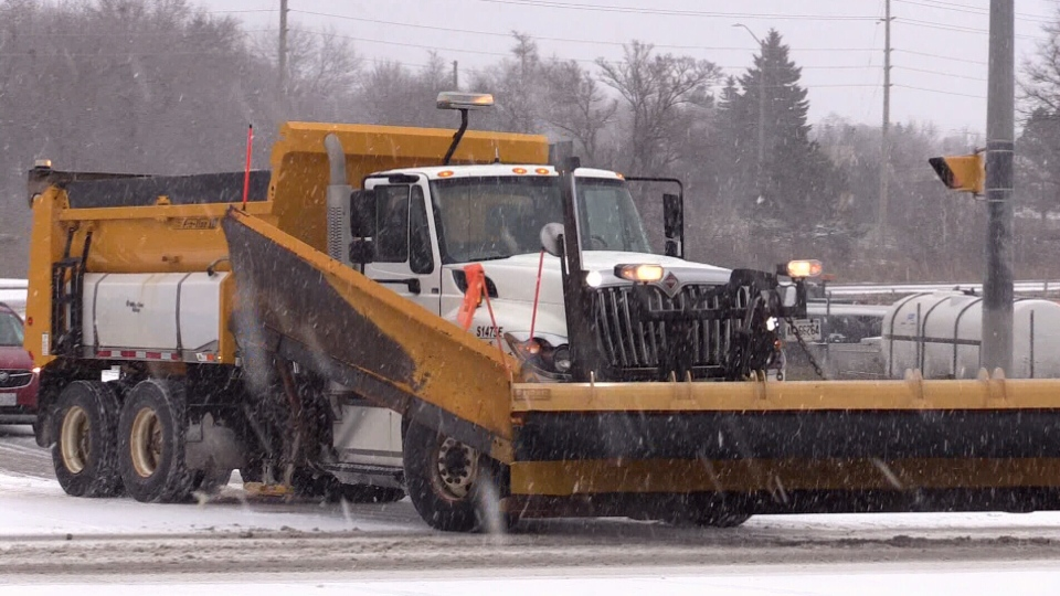 Crews work to clear the roads after more than 5 centimeters of ice and snow blasts Simcoe County on Sunday December 1, 2019.