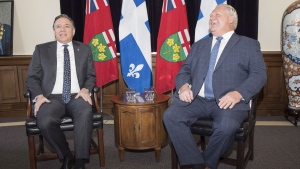 Quebec Premier Francois Legault, left, will have an uphill battle selling hydro to Ontario Premier Doug Ford. THE CANADIAN PRESS/Chris Young