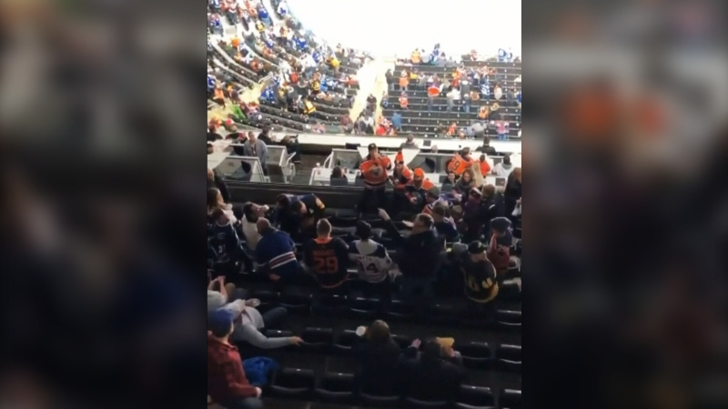Fans scuffle at Oilers vs. Canucks game