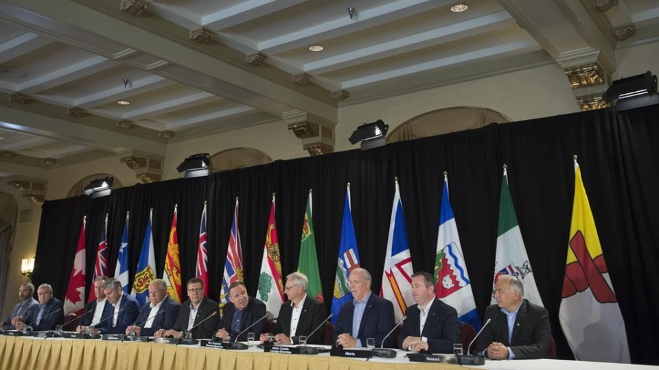 Canada's Premiers are seen during a closing news conference following a meeting in Saskatoon, Sask. Thursday, July 11, 2019. THE CANADIAN PRESS/Jonathan Hayward