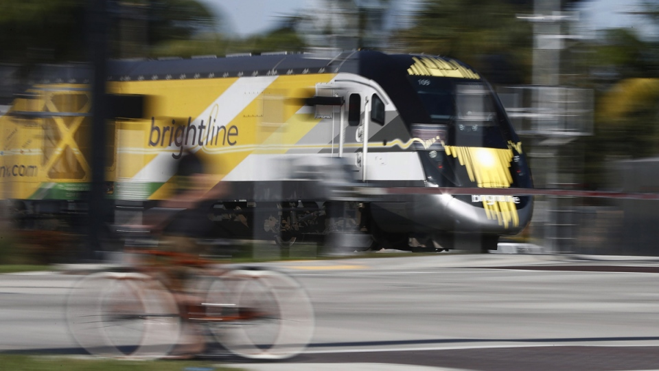 Brightline passenger train in Oakland Park, Fla.