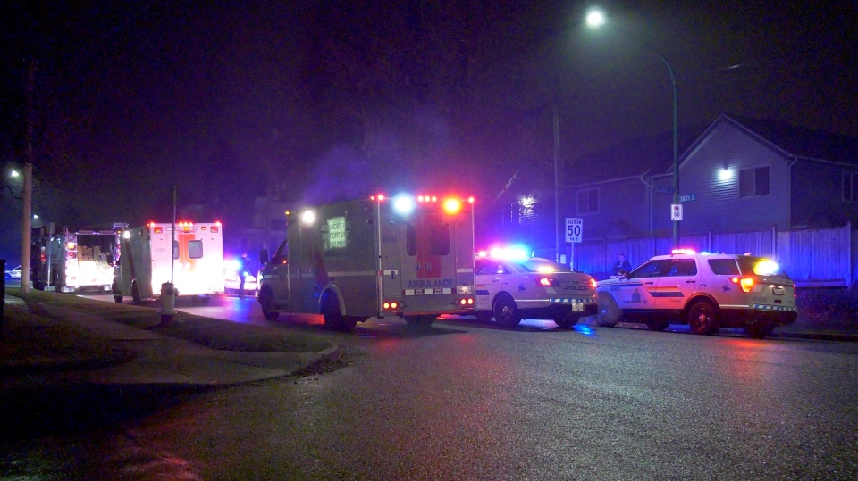Emergency crews were in Burnaby after a man was found with wounds following a violent incident.