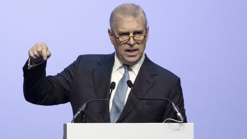 Prince Andrew delivers a speech in ASEAN Business and Investment Summit (ABIS) in Nonthaburi, Thailand, on Nov. 3, 2019. (Sakchai Lalit / AP)