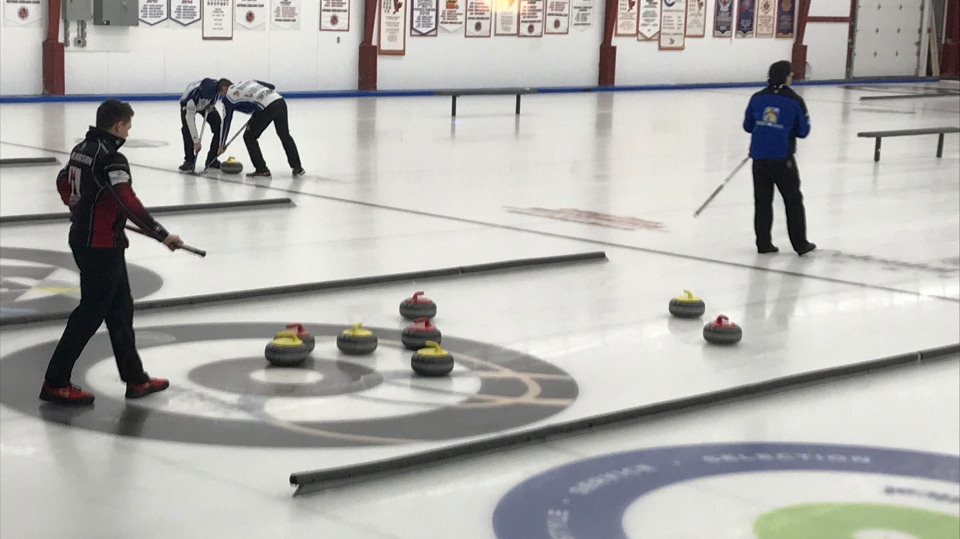 Curlers play at Nutana Curling Club on Dec. 2, 2019. (Chad Leroux/CTV Saskatoon)