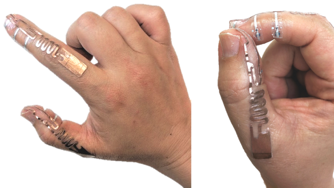 A device on a pointer finger and thumb
