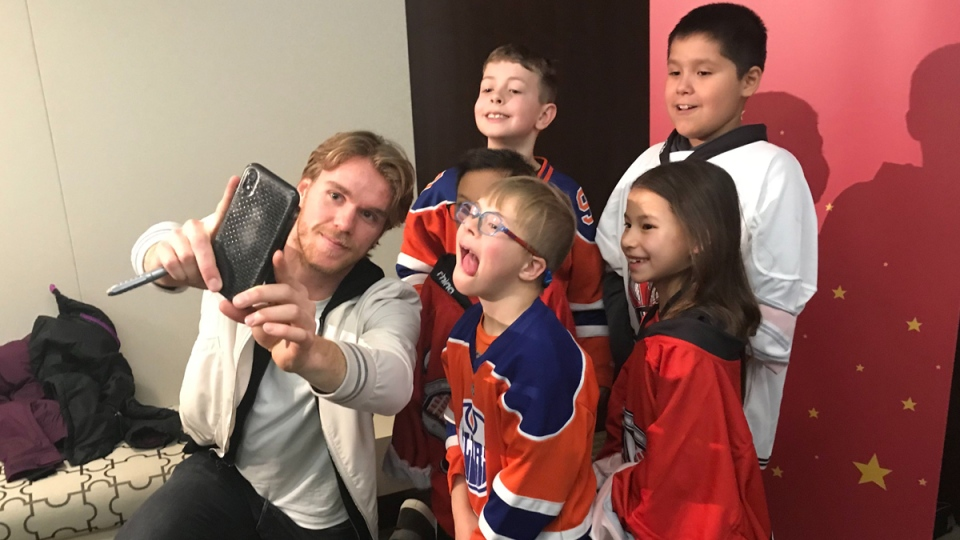 Edmonton Oilers captain Connor McDavid surprised a number of local kids during a charity event in Edmonton on Dec. 2, 2019. (CTV News Edmonton)