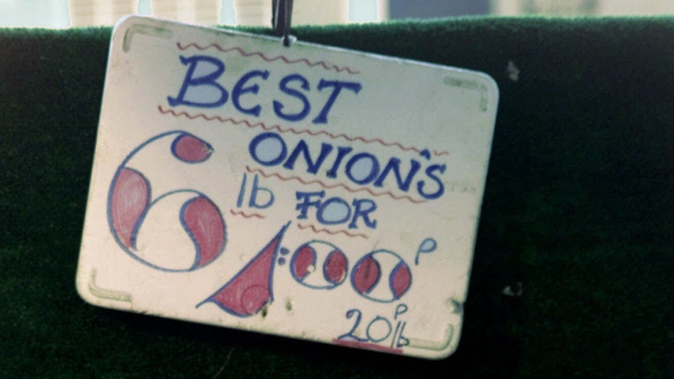A sign advertising the price of onions is seen with an incorrect apostrophe added, at a market stall in Maida Vale, London Friday May 11, 2001. Founders of The Apostrophe Protection Society have set out to enlighten local merchants in their northeastern county of Lincolnshire. Butchers, greengrocers, supermarket managers and even a librarian received polite letters drawing their attention to displays of aberrant punctuation and setting them straight on the difference between plural and possessive. (AP Photo/Max Nash)