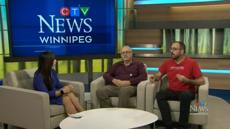 "Maralee talks with Mike Payne and Jim Kane from nine circles Community Health Centre about the ""Grumbling epidemic"" of Aids in Manitoba"