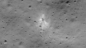 NASA released an image taken by its Lunar Reconnaissance Orbiter that showed the site where India's Vikram lander crashed on the lunar surface in September 2019. (AFP)