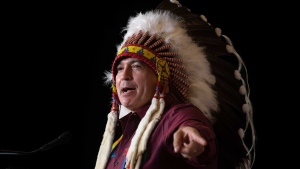 National Chief Perry Bellegarde addresses the Assembly of First Nations Special Chiefs Assembly in Ottawa, Tuesday December 3, 2019. THE CANADIAN PRESS/Adrian Wyld