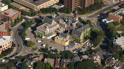 Aerial view of the historic building at the University of Toronto as seen from the CTV News helicopter, Thursday, Sept. 10, 2009. (Tom Podolec / CTV News)