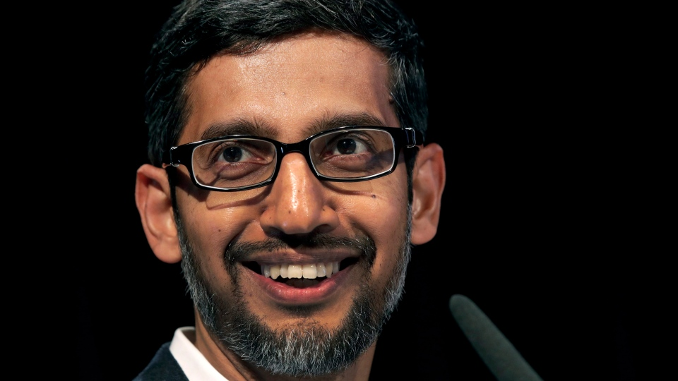 In this Tuesday, Jan. 22, 2019, file photo, Sundar Pichai, CEO of Google, speaks during a statement as part of the opening of a new Google office in Berlin. (AP Photo/Michael Sohn, File)