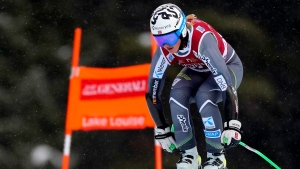 Kajsa Vickhoff Lie, of Norway, skis down the course during the first training run for women's downhill FIS world cup ski race, in Lake Louise, Alta., Tuesday, Dec. 3, 2019. THE CANADIAN PRESS/Frank Gunn