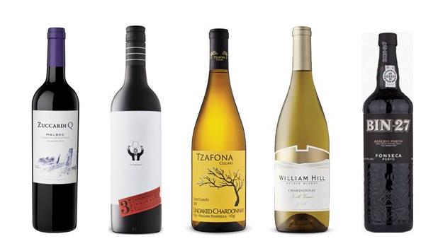 Zuccardi Q Malbec 2017, 3 Rings Shiraz 2016, Tzafona Cellars Cold Climate Unoaked Chardonnay 2015, William Hill Chardonnay 2017, Fonseca Porto Bin 27