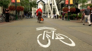 Stephen Avenue will be pedestrian and cyclist only between 11 a.m. and 6 a.m. each day during the pandemic. (File photo)