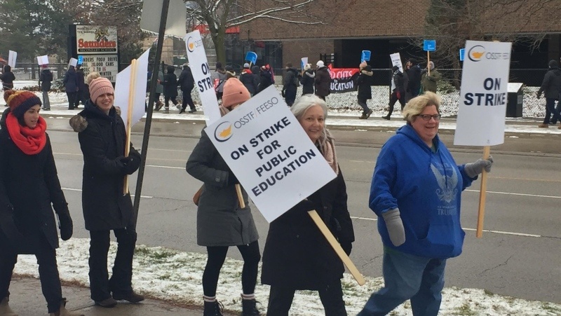 High School teachers from Saunders on their one day walkout on Wednesday, December 4, 2019. (Marek Sutherland / CTV London)