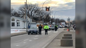 A section of westbound Ness Avenue is closed Wednesday morning. (Source: Lizzy Symons/CTV News Winnipeg)