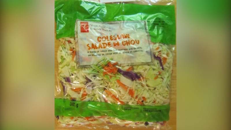 A bagged President's Choice coleslaw has been recalled because of possible salmonella.