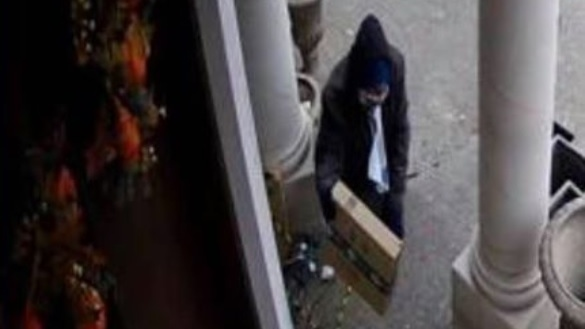 A screen capture of a 'porch pirate' in action in Windsor on Nov. 22, 2019 (Facebook / Sam Alhaj)
