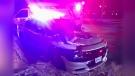 St. Thomas Police Cruiser damaged in early morning crash. (Courtesy St. Thomas Police)
