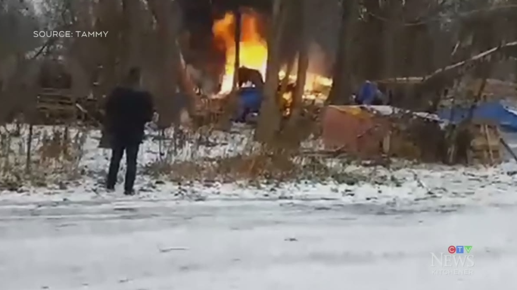 Fire forces homeless camp residents to evacuate