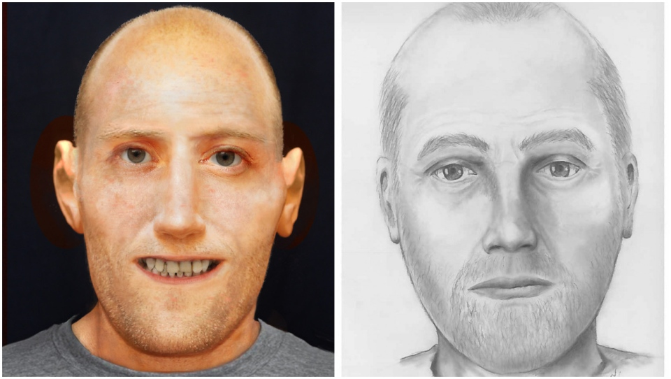 Police released this composite sketch and model rendering after human remains were found near Slave Lake in October 2018. (RCMP)