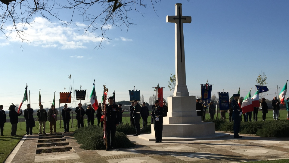 Ceremony of Remembrance at the Commonwealth War Cemetery in Ravenna, Italy, Wednesday, Dec. 4, 2019. (Todd Battis / CTV News)