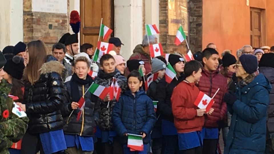 School children in Ravenna, Italy attend the liberation ceremony, Wednesday, Dec. 4, 2019.