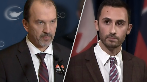 Harvey Bischoff (left), President of OSSTF and Ontario Education Minister Stephen Lecce (right).