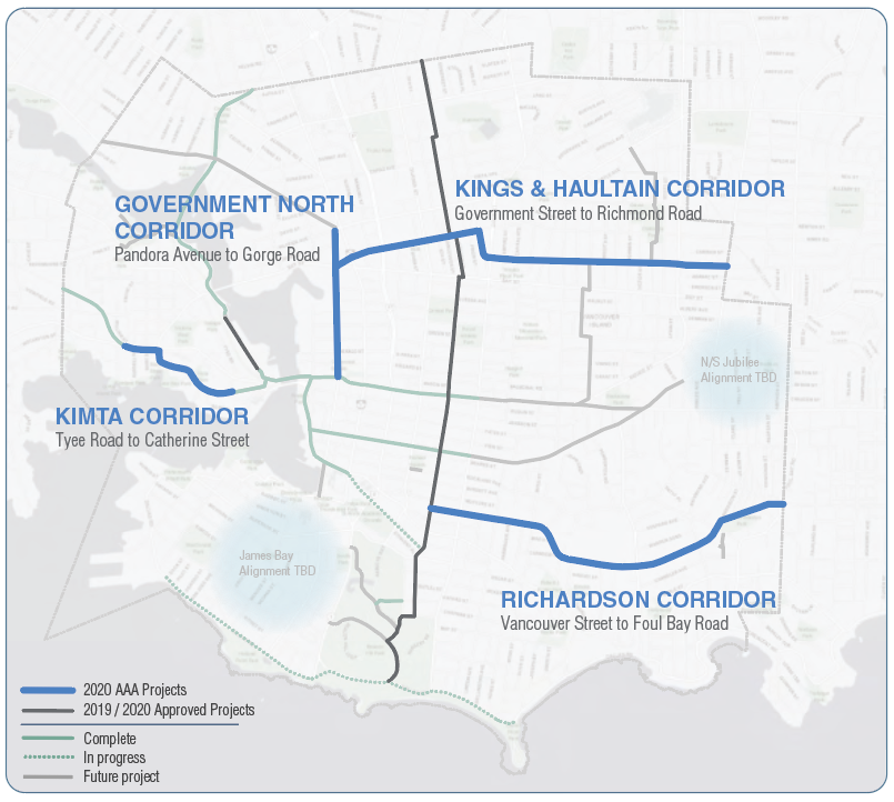 A map of the four upcoming bike lane projects scheduled to begin across Victoria next year: (City of Victoria)