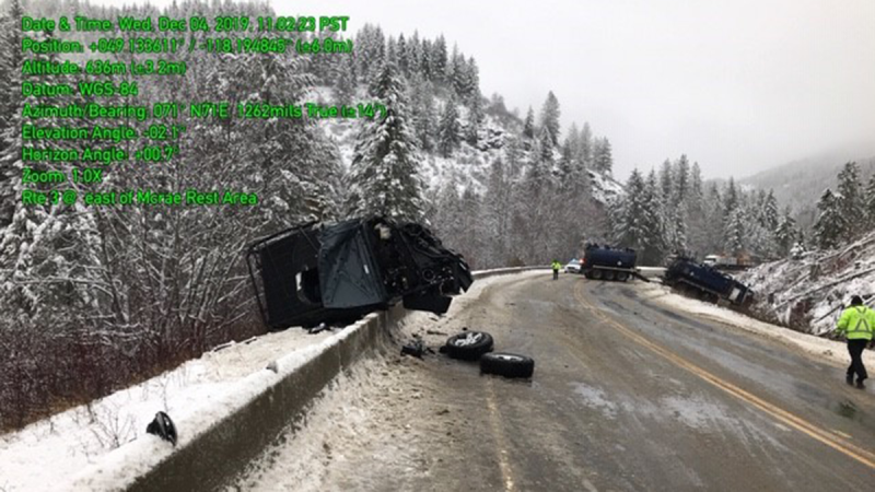 A photo from shows the scene of a tanker-involved crash on Wednesday, Dec. 4, 2019. (BC Ministry of Transportation and Infrastructure / Twitter)