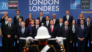 NATO heads of state attend a ceremony event during a NATO leaders meeting at The Grove hotel and resort in Watford, Hertfordshire, England, Wednesday, Dec. 4, 2019. (Steve Parsons/PA via AP)