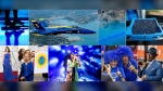 This combination of photos shows, top row from left, U.S. Navy Blue Angel; police firing blue-coloured water at protestors in Hong Kong; a tray of wild blueberries; bottom row from left, Tina Fey wearing a blue gown at the Oscars; Greta Thunberg wearing a blue sweatshirt; H.E.R. performing under blue lights at Coachella; Duke fans wearing blue wigs before an NCAA college basketball game and Al Roker wearing blue eye glasses. (AP Photo)