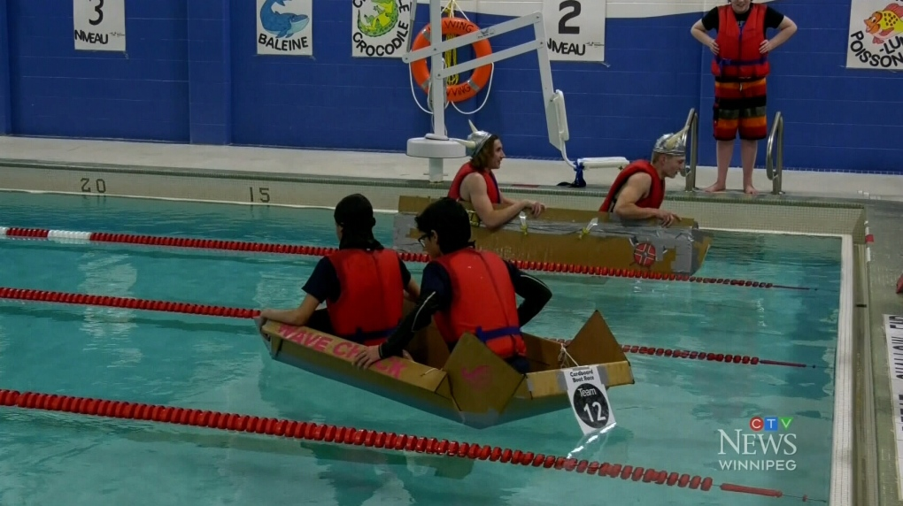 Students build boats with duct tape and cardboard