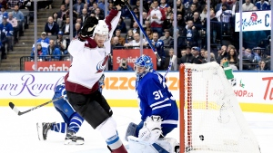 Colorado Avalanche right wing Valeri Nichushkin (13) celebrates his goal on Toronto Maple Leafs goaltender Frederik Andersen (31) during third period NHL hockey action in Toronto, Wednesday, December 4, 2019. THE CANADIAN PRESS/Nathan Denette