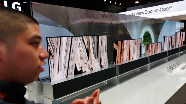 LG Signature OLED TV R televisions are on display at CES International, Tuesday, Jan. 8, 2019, in Las Vegas. (AP Photo/John Locher)