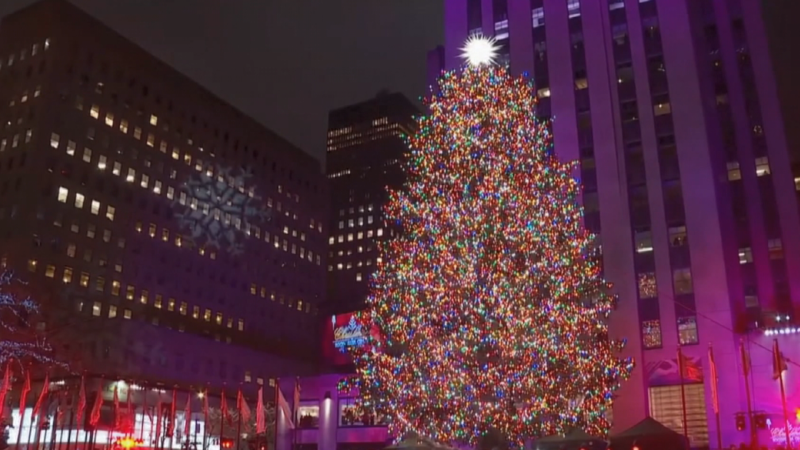 Rockefeller tree lights up in NYC
