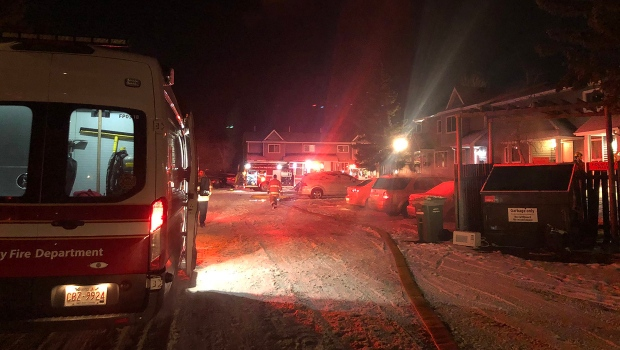 CFD crews at the scene of an early morning fire at a townhouse complex in Applewood