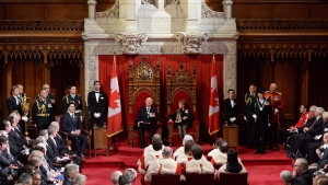 Then-Governor General David Johnston delivers the speech from the throne in the Senate Chamber on Parliament Hill in Ottawa, Friday December 4, 2015. THE CANADIAN PRESS/Sean Kilpatrick