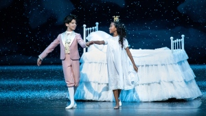 "Charlotte Nebres, right, was cast as Marie in New York City Ballet's annual production of ""George Balanchine's The Nutcracker."" (Erin Baiano/New York City Ballet)"